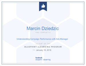 certyfikat facebook marcin dziedzic