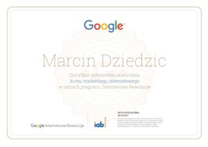 certyfikat google marcin dziedzic