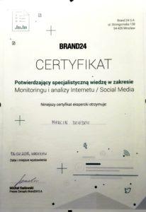 certyfikat brand24 marcin dziedzic