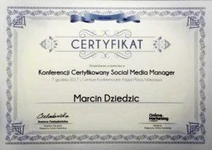 certyfikat social media manager marcin dziedzic